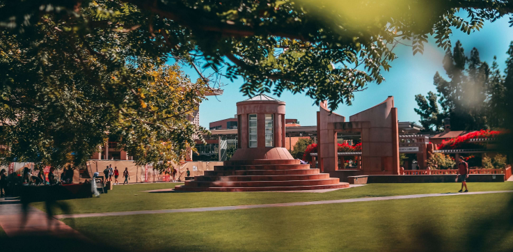 A photograph of a beautiful college campus in the US, home to many international students from all across the world
